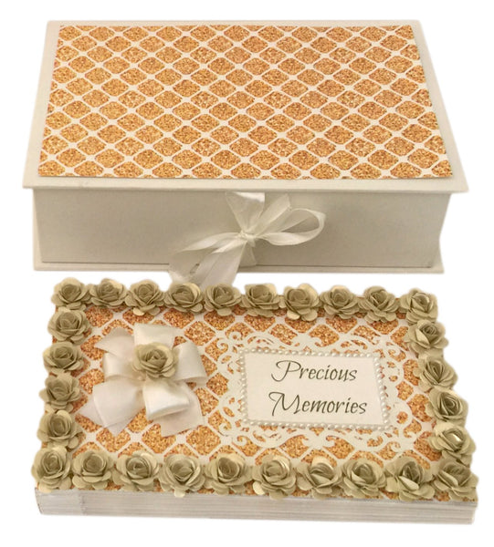 Precious Memories Handmade Photo Album-Gold Diamonds