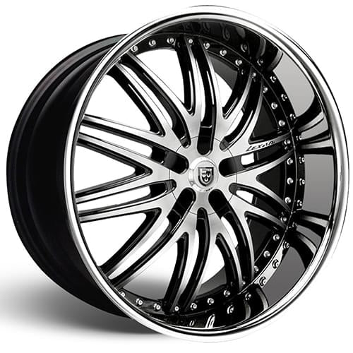 Lexani Wheels  LX-10 - Black and machined face with chrome lip