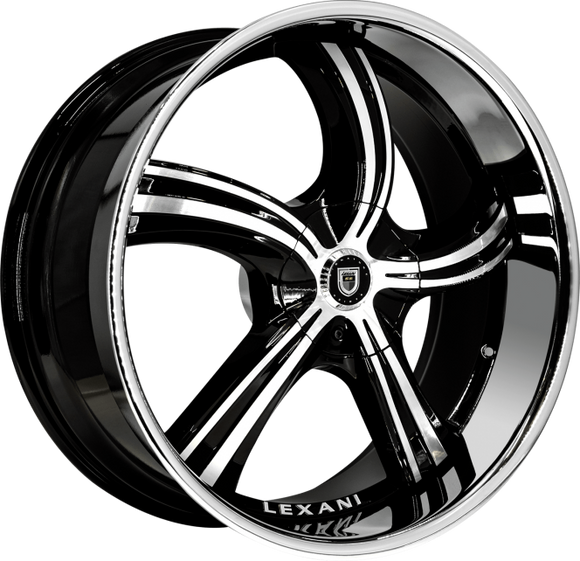 Lexani Wheels - Cinco - Black Machined face with Chrome Lip