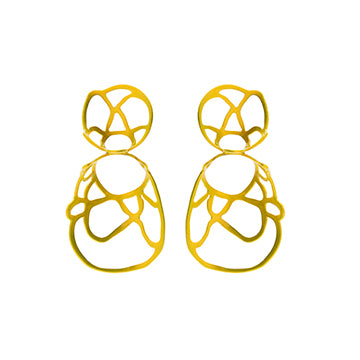 Double Lace Earrings, Golden Lux