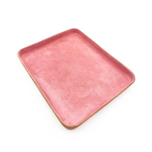 Leather Jewelry Tray, Large Pink