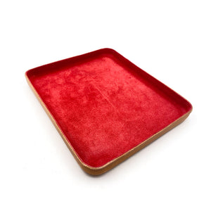 Leather Jewelry Tray, Large Red