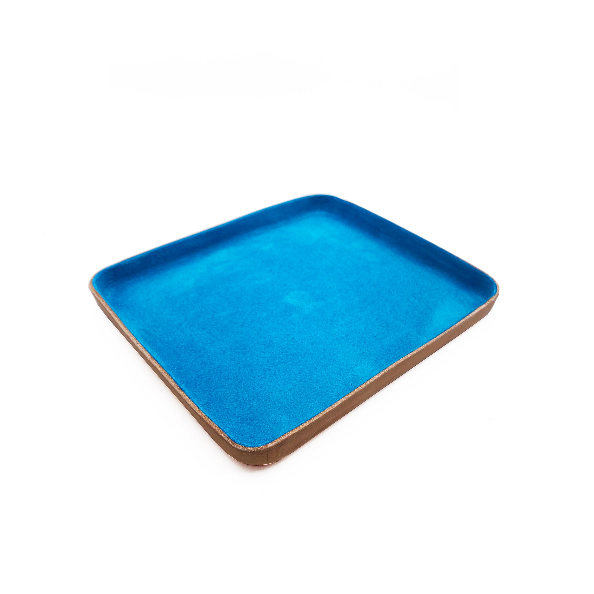 Leather Jewelry Tray, Large, Turquoise Blue