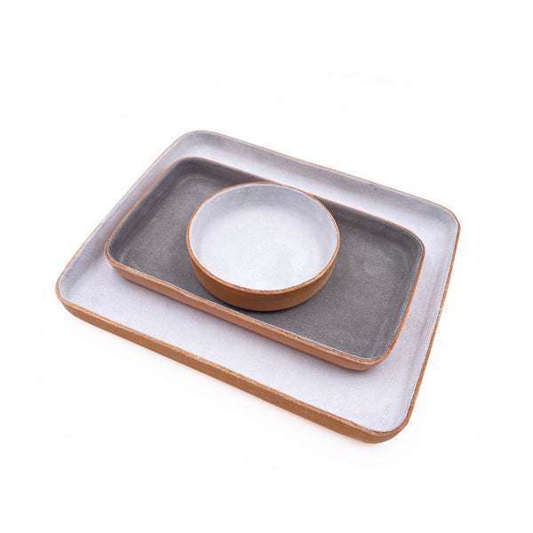 Leather Jewelry Tray, Large Light Grey