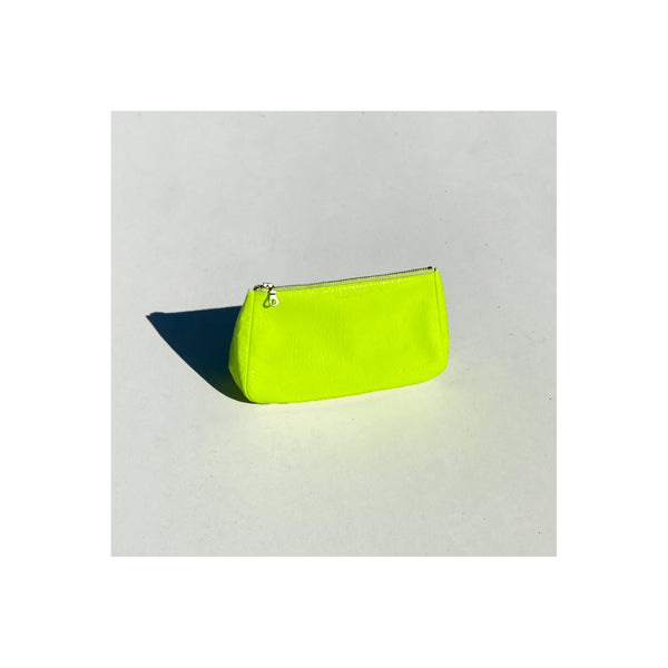 Medium Fatty Leather Pouch, Fluoro Yellow