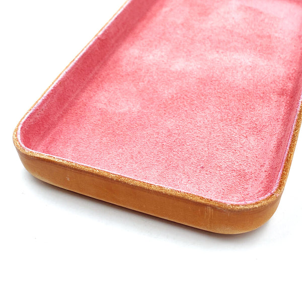 Leather Jewelry Tray, Medium Pink