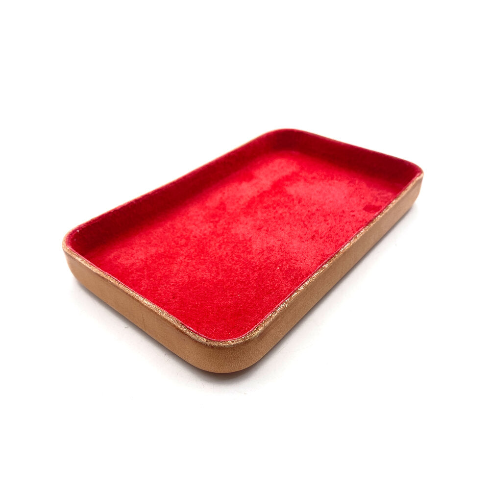 Leather Jewelry Tray, Medium Red