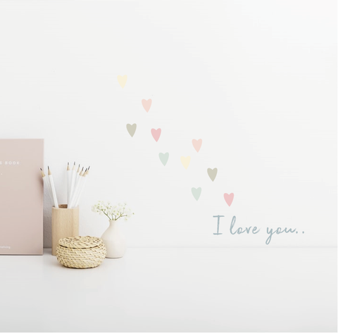 I love you tekst muursticker met hartjes stickers
