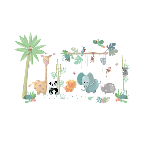 Jungle muurstickers | Jungly jungle - Complete set muurstickers - LM Baby Art