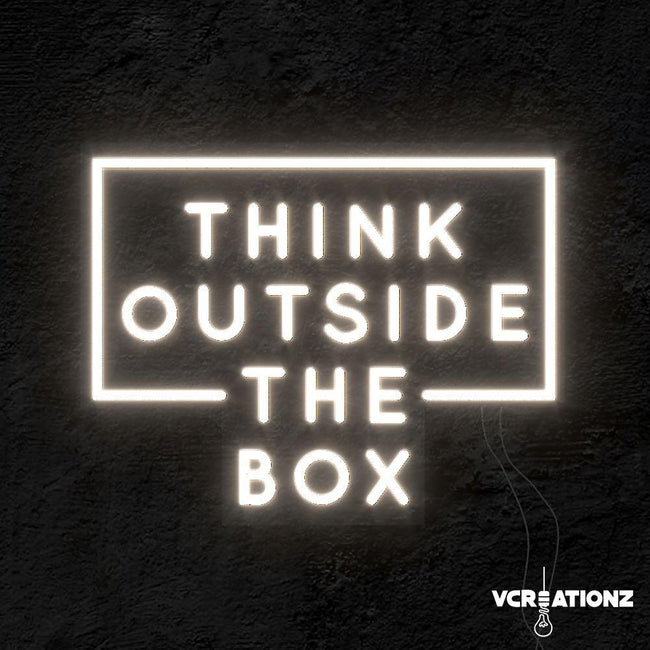 """Think Outside The Box"" LED Neon Light VCreationZ Neon Signs 🧪"