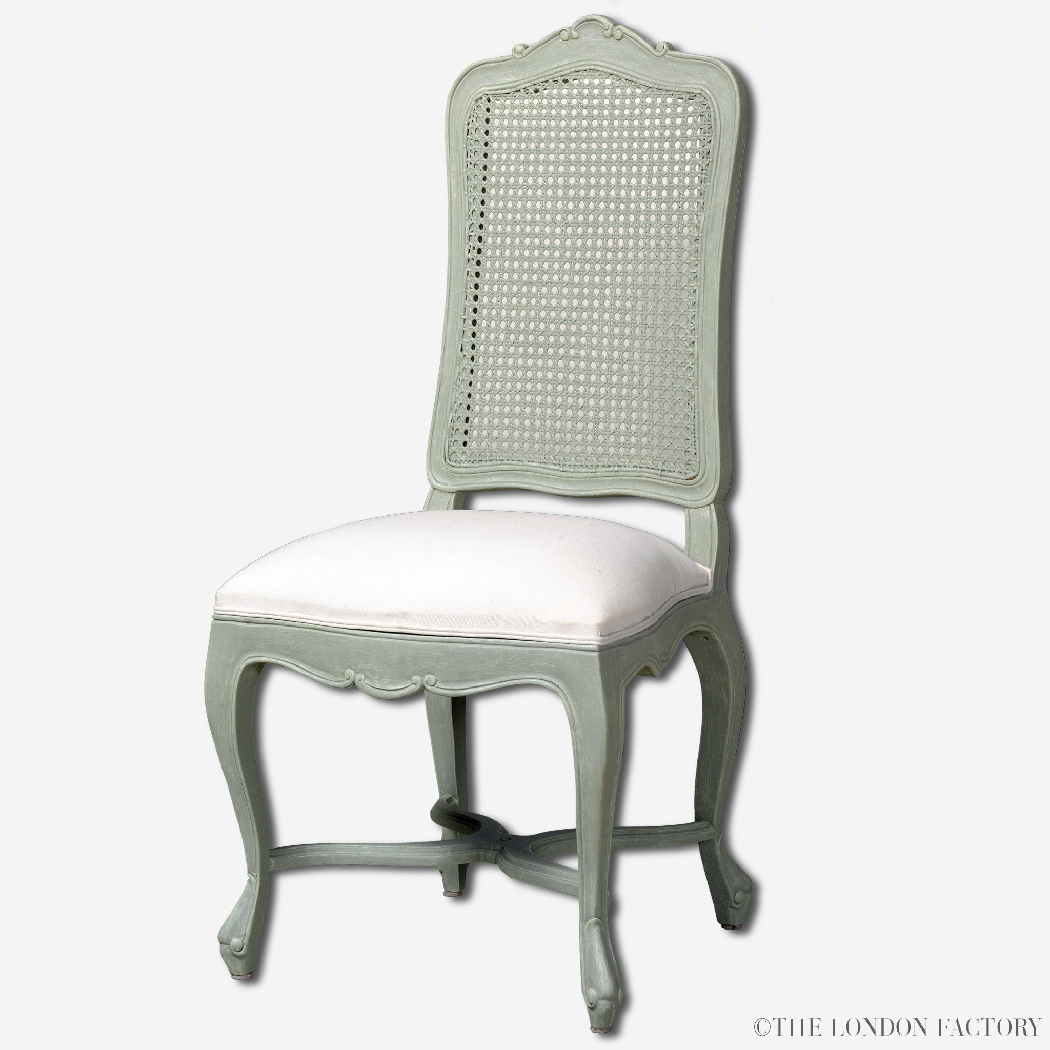 Hyde French Upholstered Seat Cane Back Dining Chair – The London