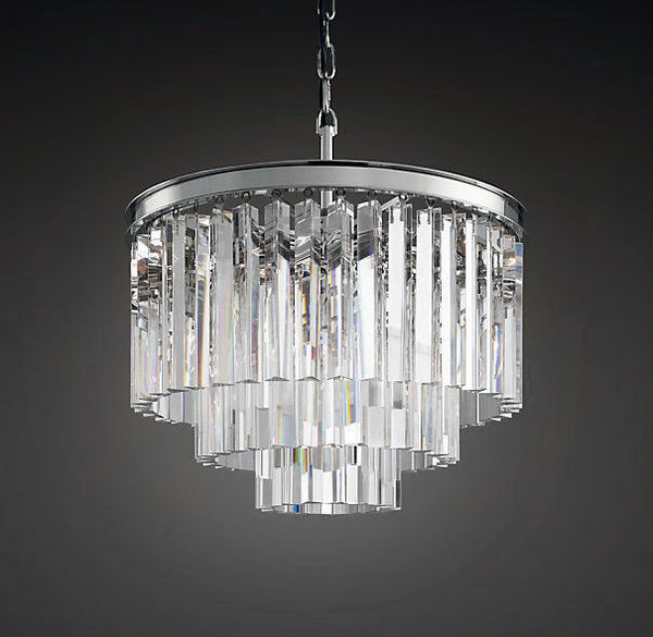 1920s Collins Art Deco Crystal Fringed Chandelier The