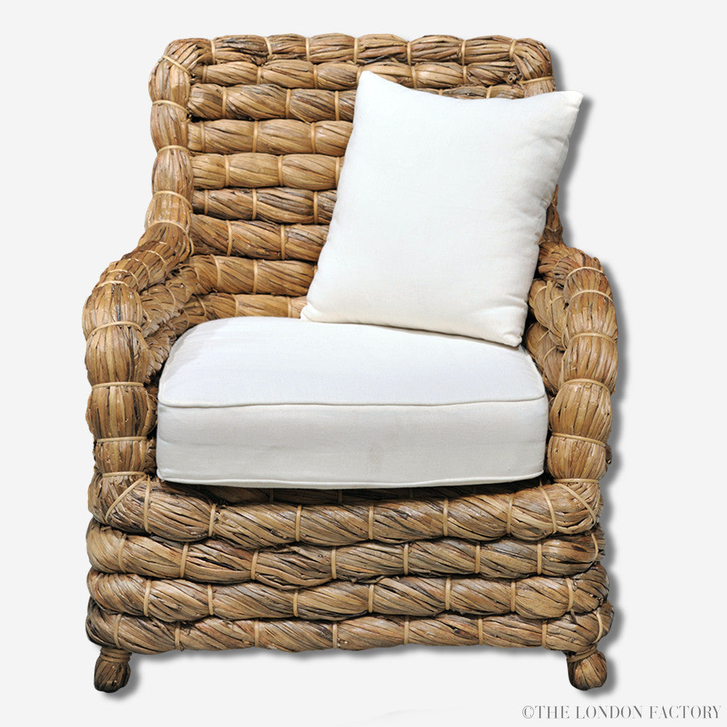 Seagrass Wicker Banana Leaf Occasional Arm Chair The