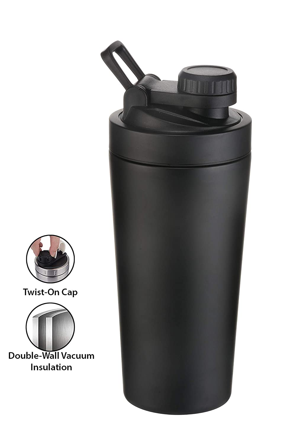 iShake Steel Shaker Bottle Hot & Cold (Black) 700 ml