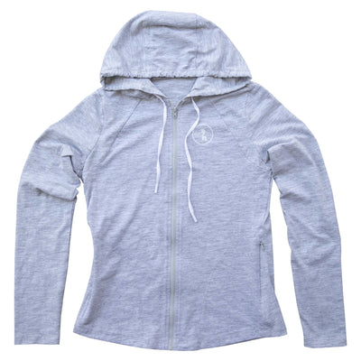 Womens SPF Zip Up Light Gray