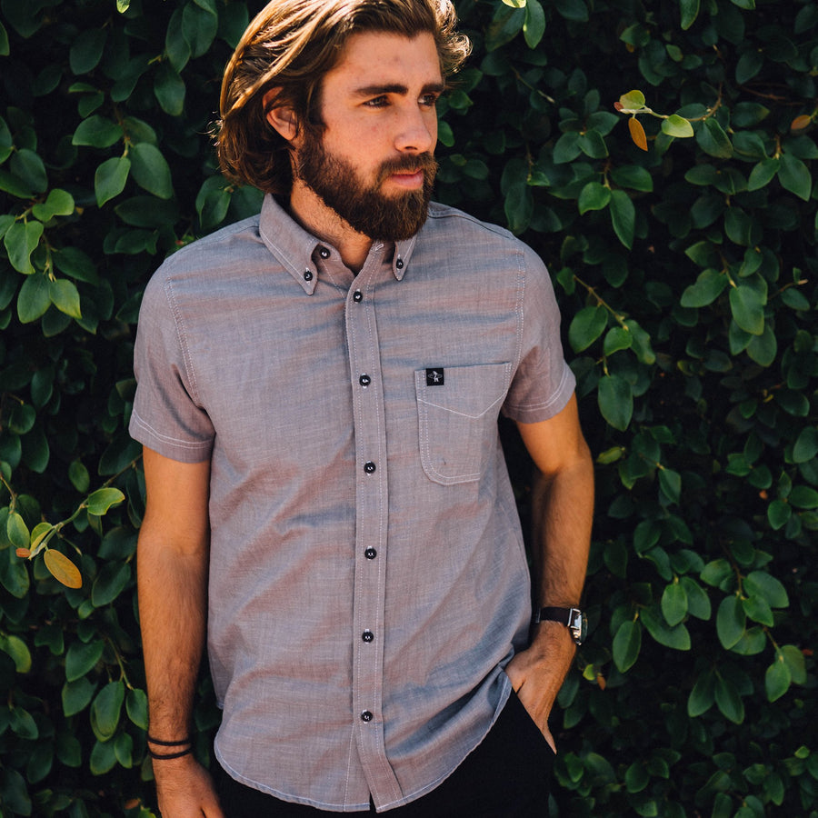 Mens Button Down - La Jolla Button Down Steele Grey Chambray