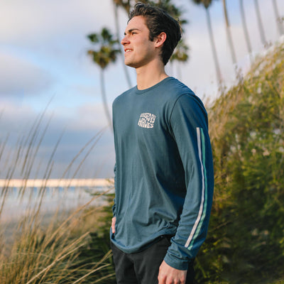 Raised By Waves Long Sleeve photographed at La Jolla Shores Beach in La Jolla California. Clothing made by Everyday California, photo by John Onelio