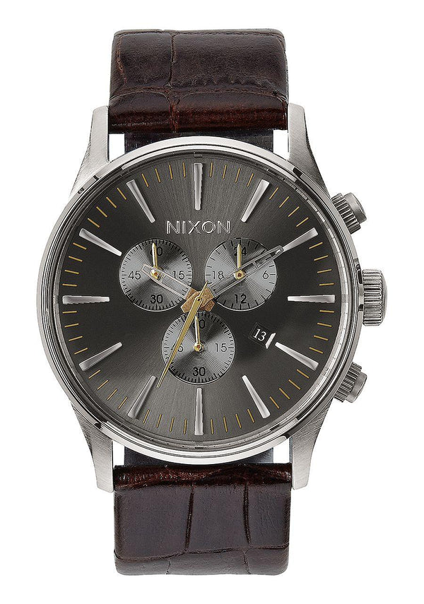 Watches - Nixon Sentry Chrono Leather Brown Gator Watch