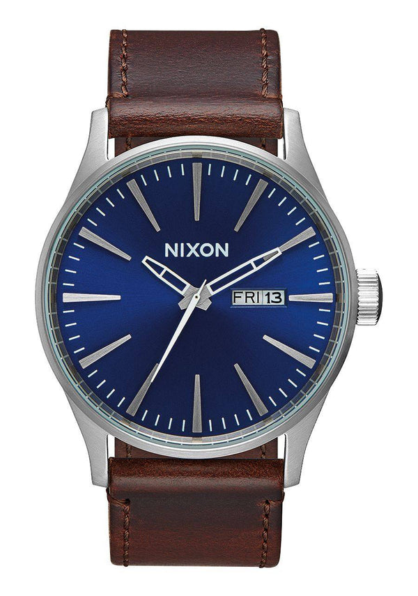 Watches - Nixon Sentry Leather Blue / Brown