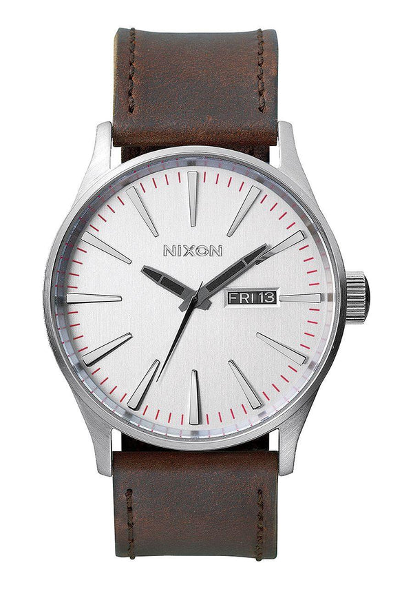 Watches - Nixon Sentry Leather Silver / Brown
