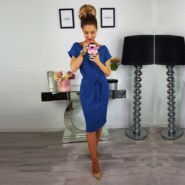 Cotton Short Sleeve Midi Dress