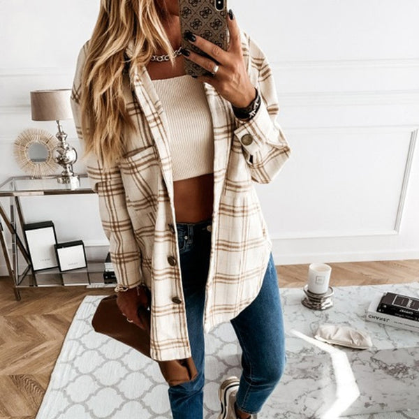 Single-Breasted Lattice Print Jacket
