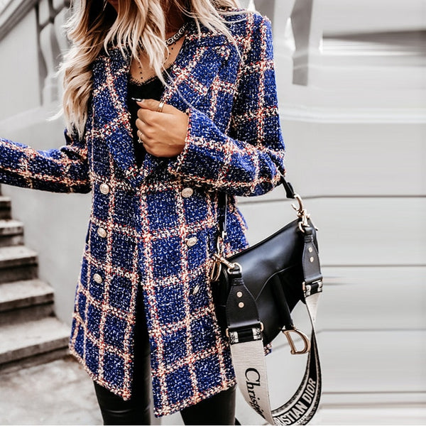 Double-Breasted Lattice Print Jacket