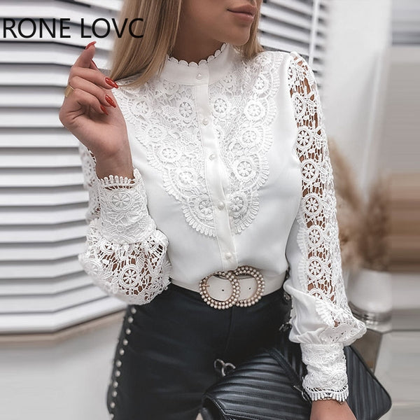 Mock Neck Lace & Button Blouse