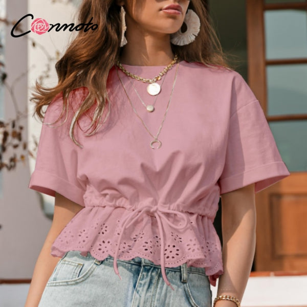 O-Neck Ruffled Drawstring Shirt