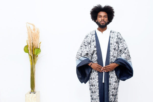 Denim/Japanese Printed Cotton Reversible Kimono