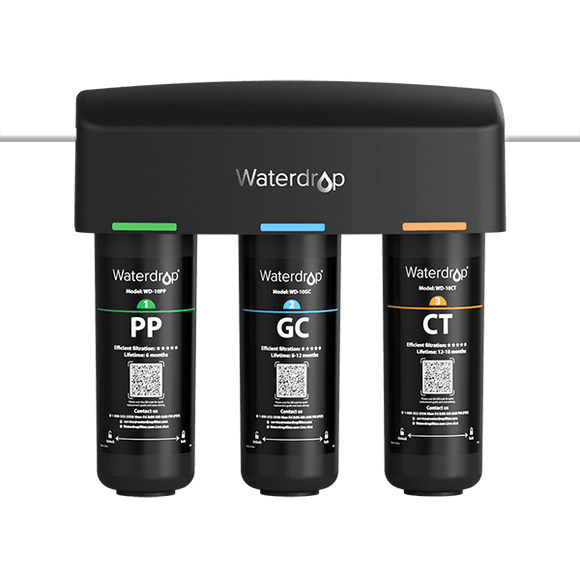Waterdrop 3 stage under counter water filter system with dedicated faucet