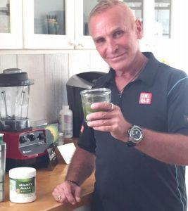 Johnny Bowden drinking Mighty Maca