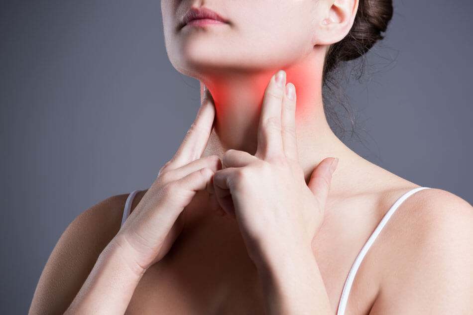 feel neck for inflammation