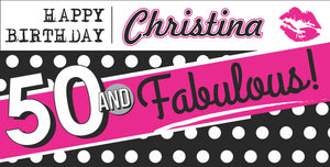 50 and Fabulous Personalized Happy Birthday Banner | 50th Birthday Banner | 40 and Fabulous | Pink Hot Lips Backdrop