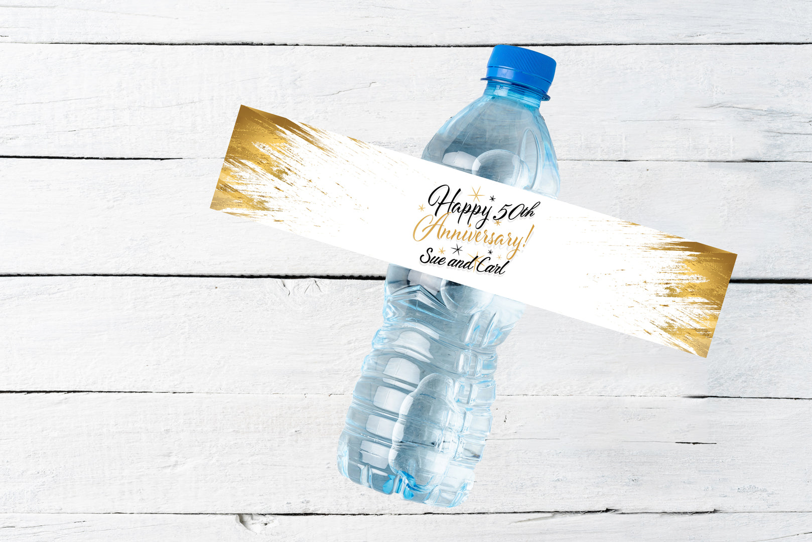 Personalized Water Bottle Labels | Anniversary Waterproof Water Bottle Wrappers | Classy Black Gold Labels Party Stickers