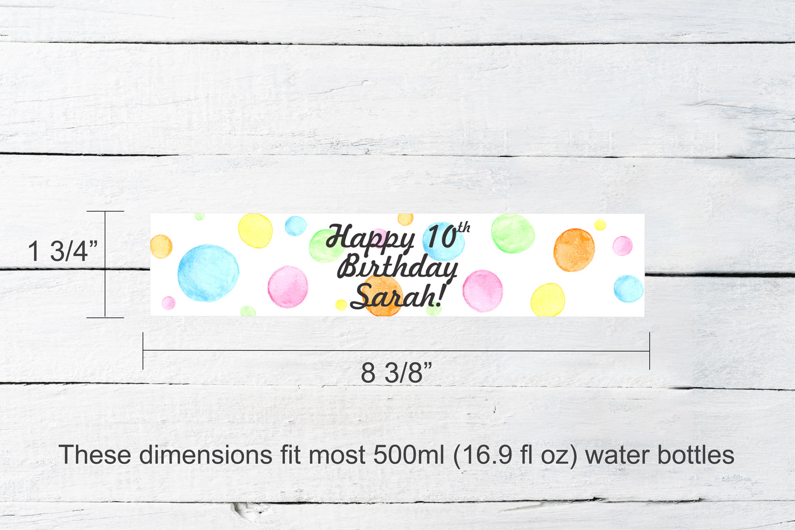 Personalized Polka Dot Water Bottle Labels | Pastel Rainbow Dots Party Favor Labels | Watercolor Water Bottle Wrappers Party Decoration