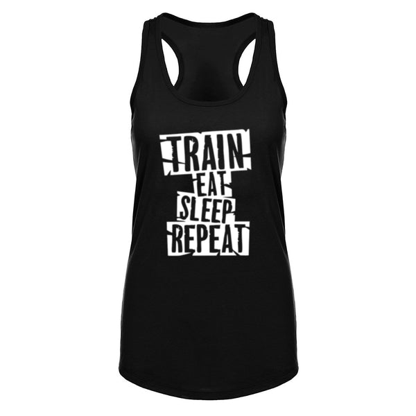 Womens Train Eat Sleep Repeat Workout Racerback Tank Tops