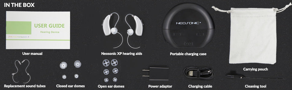 Neosonic XP Hearing Aid, what's in the package