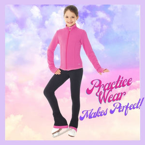 Image of girl wearing Mondor Pink Skating jacket and practice pants. Practice wear for figure skaters.