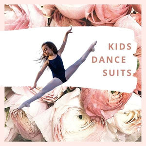 Collection of kids dance bodysuits. Girl dancer doing splits in the air. Sudbury Ontario Canada