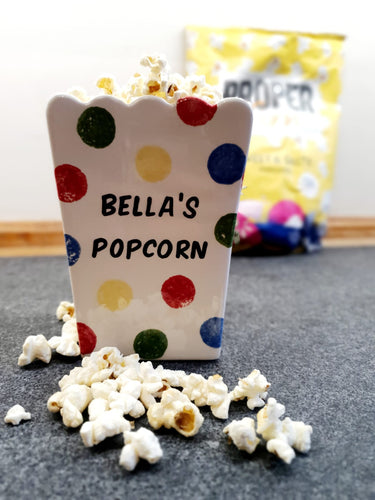 Personalised ceramic popcorn holder