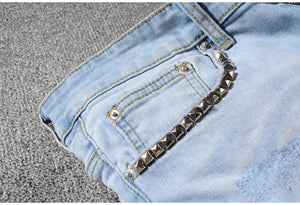 Printed Patchwork Denim Jeans