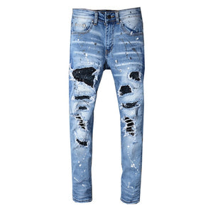 Slim Fit Destroyed Ripped Jeans
