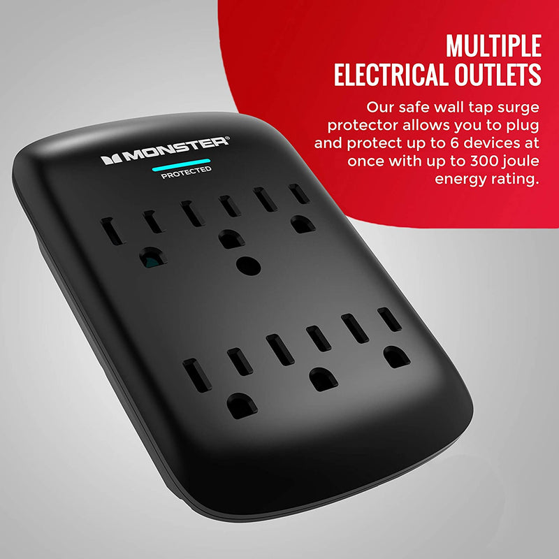 Monster Essentials 6 Outlet 300 Joule Wall Surge Protector