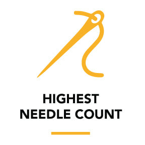 Our needle count is 200 so we can knit smaller details & we can PMS match up to 6 colors!