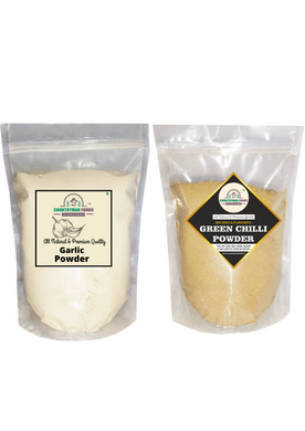 Garlic Powder and Green Chilli Powder Combo Pack in zip lock bags.