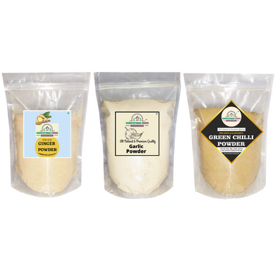 Ginger Powder, Garlic powder and Green Chilli Powder Combo Pack in zip lock bags.