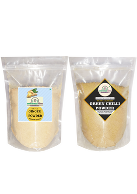 Ginger Powder and Green Chilli Powder Combo Pack in zip lock bags.