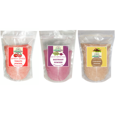 Tomato Powder, Beetroot Powder and Tamarind Powder Combo Pack in zip lock bags.