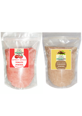 Tomato Powder and Tamarind Powder Combo Pack in zip lock bags.